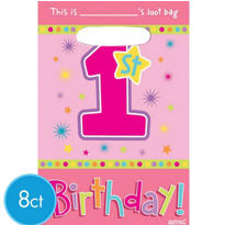 Hugs & Stitches Girl's 1st Birthday Favor Bags 8ct