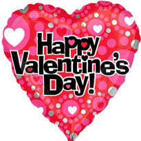 Foil Hearts & Dots Valentines Day Balloon 18in