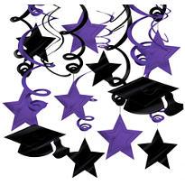 Purple Graduation Swirl Decorations 30ct