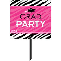 Zebra Party Graduation Yard Sign 14in x 15in
