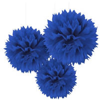 Royal Blue Fluffy Decorations 16in 3ct