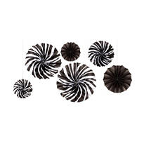 Zebra Mini Fan Decorations 5ct