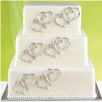 Double Hearts Wedding Cake Decorations 6ct