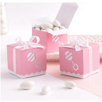 Pink Rattle Baby Shower Favor Box Kit 25ct