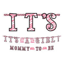 Pink Safari Baby Shower Letter Banner Combo Pack 2ct