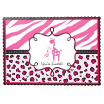 Pink Safari Baby Shower Invitations 20ct