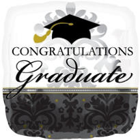 Foil Black & White Graduation Balloon