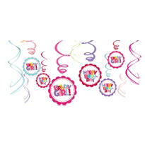 Girl Birthday Swirl Decorations 12ct