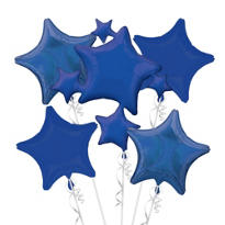Foil Blue Stars Balloon Bouquet 5pc