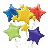 Foil Multicolor Stars Balloon Bouquet 5pc