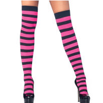 Adult Black and Pink Striped Thigh High Stockings
