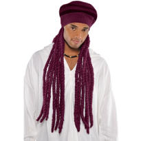 Burgundy Dreadlock Wig with Hat