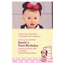 Minnie Mouse 1st Birthday Custom Photo Invitation
