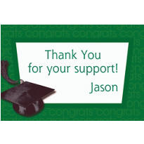 Custom Green Congrats Grad Thank You Notes