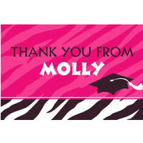 Custom Zebra Graduation Party Thank You Notes