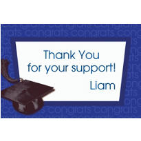Royal Blue Congrats Grad Custom Thank You Notes