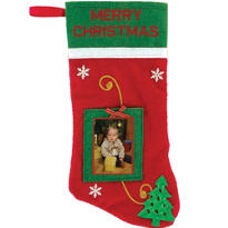 Photo Insert Christmas Stocking 10in