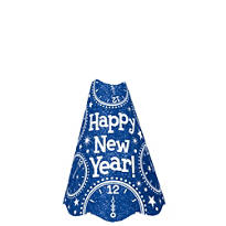 Glitter Blue New Years Cone Hat