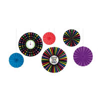 Jewel Tone New Years Fan Decorations 6ct