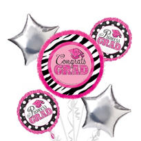 Foil Zebra Party Graduation Balloon Bouquet 5pc