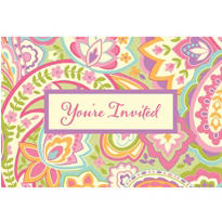Horizontal Fab Paisley Invitations 8ct