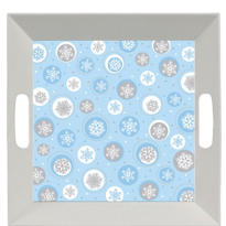 Square Printed Snowflake Tray 10in