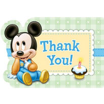 1st Birthday Mickey Mouse Thank You Notes 8ct