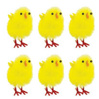 Medium Chenille Easter Chicks 1 1/2in 6ct