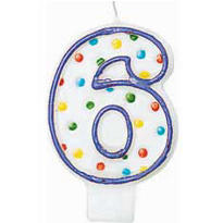 Number 6 Polka Dot Birthday Candle 3in