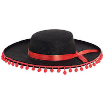 Red and Black Spanish Hat