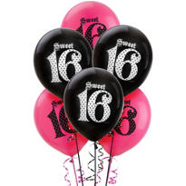 Latex Super Stylish Sweet 16 Balloons 12in 6ct