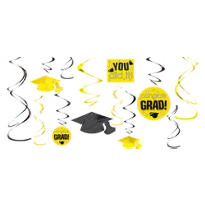 Yellow Graduation Swirl Decorations 12ct