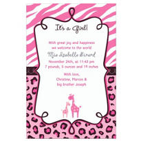 Custom Pink Safari Birth Announcements