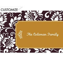Black & Gold Damask Border Custom Thank You Note