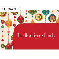 Charming Retro Ornaments Custom Christmas Thank You Note
