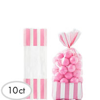 Light Pink Striped Favor Bags 10ct