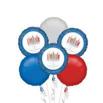 Menorah Hanukkah Balloon Bouquet 6pc