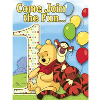 Pooh and Pals 1st Birthday Invitations 8ct