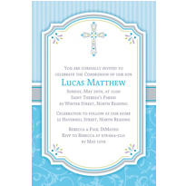 Blue Communion Blessings Custom Invitation