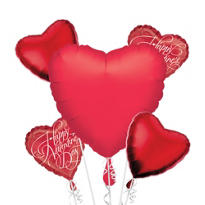 Metallic Red Jumbo Heart Balloon Bouquet 5pc