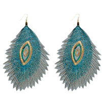 Embroidered Peacock Earrings