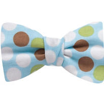 Blue Polka Dot Sticky Bow Tie