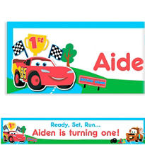 Cars 1st Birthday Custom Banner