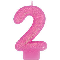 Number 2 Bright Pink Glitter Birthday Candle 3in