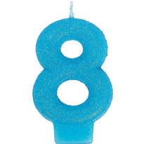 Number 8 Caribbean Blue Glitter Birthday Candle 3in
