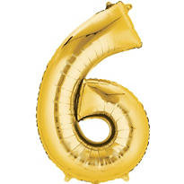 Number 6 Balloon - Gold