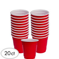 Plastic Red Shot Glasses 20ct