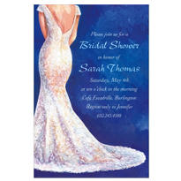 Bride in Gown Dark Custom Bridal Shower Invitation