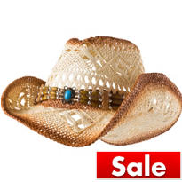 Woven Cowboy Hat with Bead Hatband