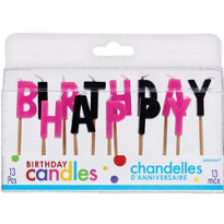 Happy Birthday Black & Pink Toothpick Candles 13ct